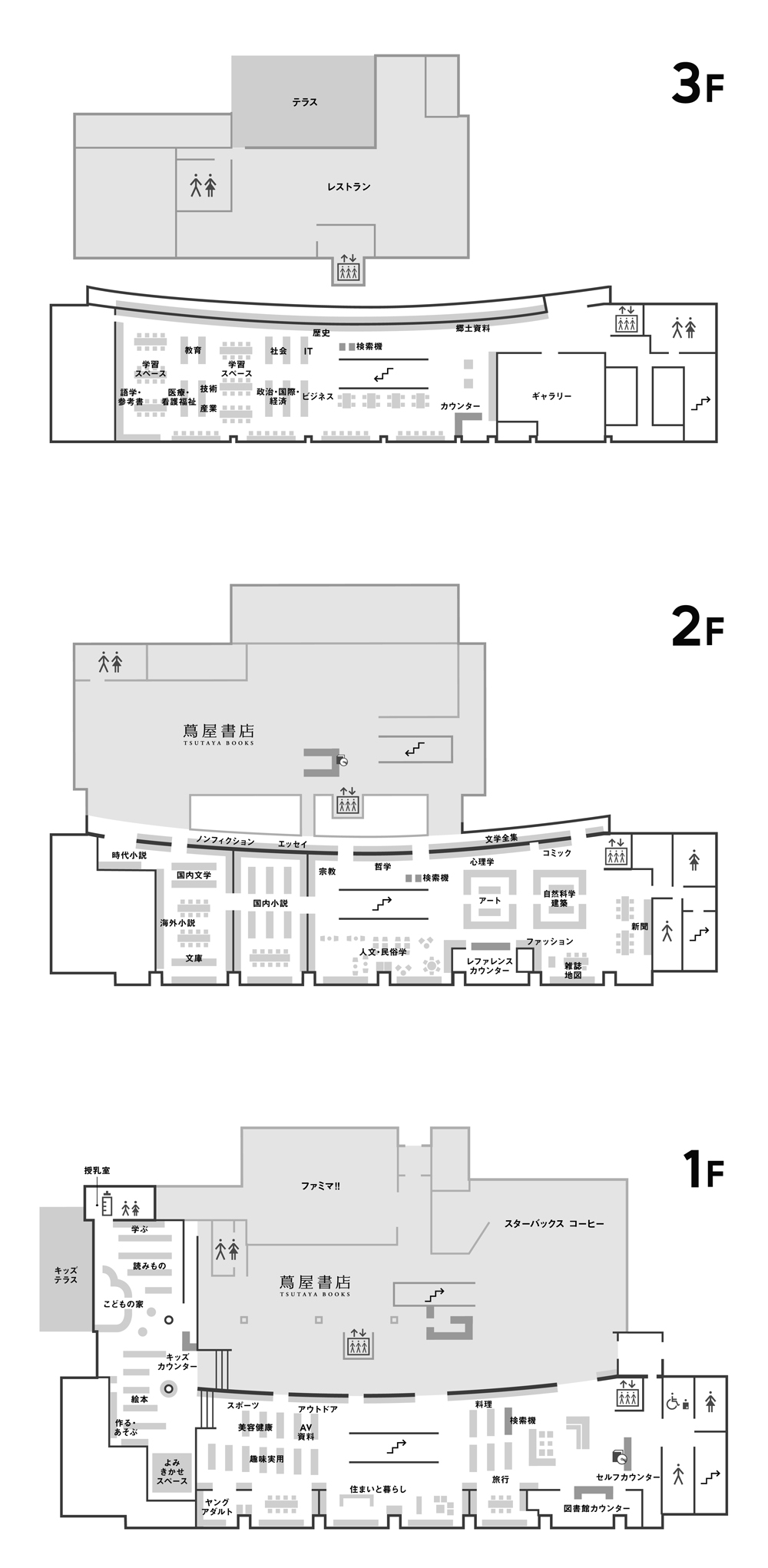 Tagajo City Municipal Lilbrary (Main Building)  Facility Map